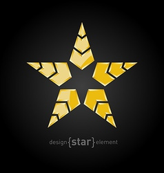 Military golden star with arrows on black vector
