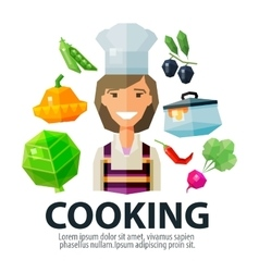 cooking logo design template kitchen or vector image
