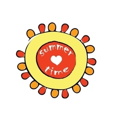 Cartoon red and yellow sun vector