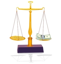 Unbalanced silver scale with money vector