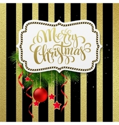 Merry christmas label with gold lettering vector