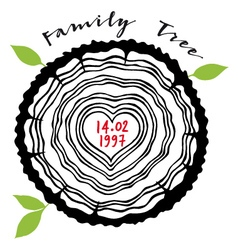 Family tree with heart rings vector