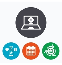 Video chat laptop sign icon webcam talk vector