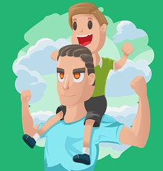Dad son couple cartoon vector