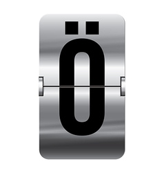 Alphabet silver flipboard letters o umlaut vector