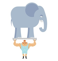 Ancient athlete and elephant Vintage circus vector image vector image