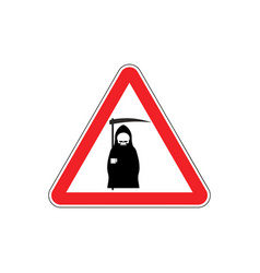 attention death dangers of red road sign grim vector image vector image
