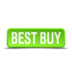 best buy green 3d realistic square isolated button vector image vector image