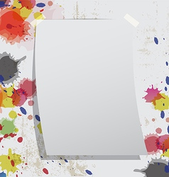 blank paper on grunge wall and ink splatter vector image vector image