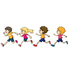 Boys and Girl Running vector image