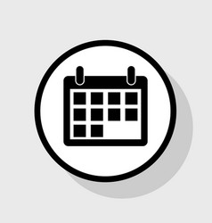 Calendar sign flat black vector
