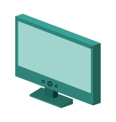 Colorful silhouette with lcd monitor vector