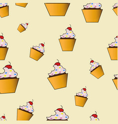 Cute cakes pattern vector