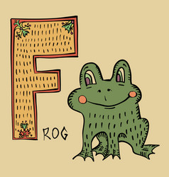 F for frog folk russian lubok style alphabet vector