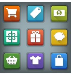 Flat icon set White Symbols Shop vector image vector image