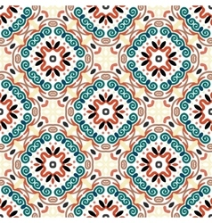 Floral pattern blue brown weave elements vector