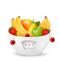 Fruit with in a weight scale Diet concept vector image