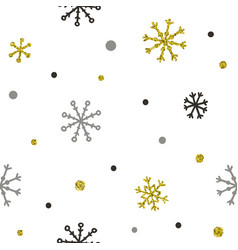 Gold and silver glitter snowflakes background vector