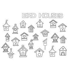hand drawn bird houses set coloring book page vector image