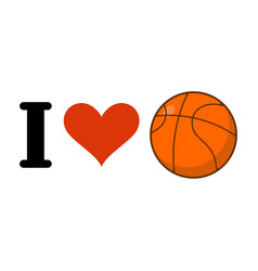 i love basketball heart and ball games emblem for vector image