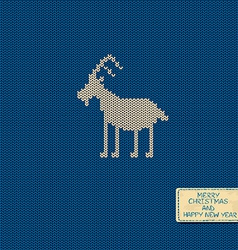 Knitted pattern card with funny goat vector image