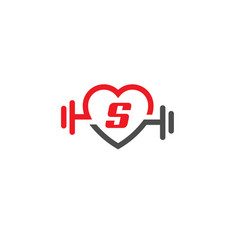 love fit with letter s logo vector image vector image