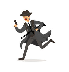 Mafia man character in gray coat and fedora hat vector