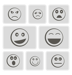 monochrome icons smiles-balls vector image