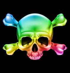 multi-colored skull and bones on black vector image vector image