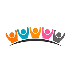 People logo group of five persons vector