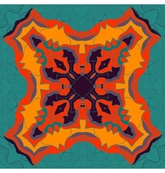 Red and yellow mandala ornament over symmetry vector