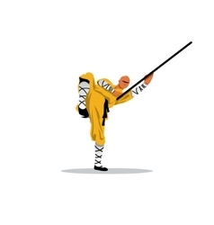 Shaolin monk with his staff vector image