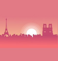 silhouette of city paris with eiffel tower scenery vector image vector image
