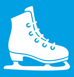 skates icon white vector image vector image