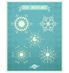 Snowflakes combo from cutlery on vintage backgroun vector