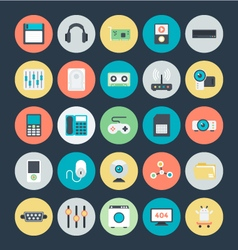 Technology and hardware colored icons 2 vector