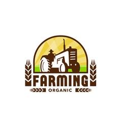 Tractor wheat organic farming crest retro vector