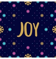 Trendy hipster Christmas Card with Joy calligraphy vector image vector image
