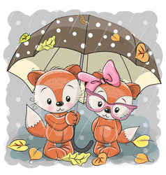 Two cute cartoon foxes with umbrella vector