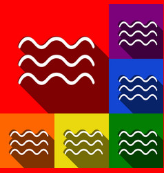 Waves sign set of icons with vector