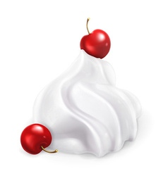 Whipped cream with berries vector image