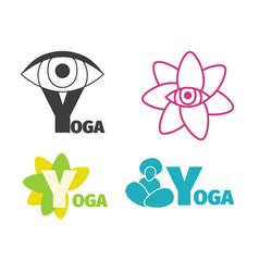 Yoga logo design template with eye man silhouette vector