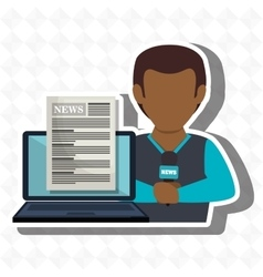 Man news laptop report vector