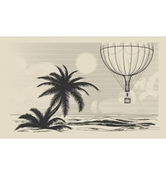 Hot air balloon flying over seashore vector image