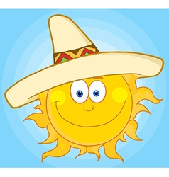 Happy sun with sombrero hat vector