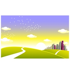 Green landscape and skyline vector