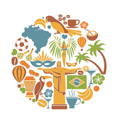 brazil travel sightseeing icons and vector image