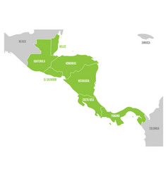 Map of central america region with green vector