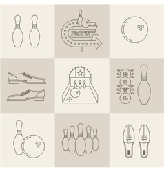 Bowling icons vector