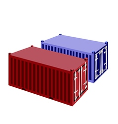 Two container cargo container on white background vector